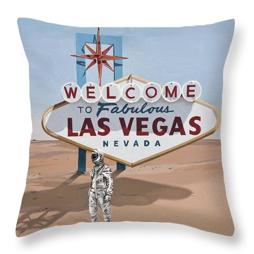Astronaut Throw Pillow featuring the painting Leaving Las Vegas by Scott Listfield