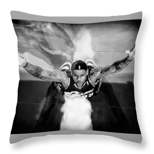 Lebron James Chalk Toss Black And White Landscape Painting Throw Pillow For Sale By Andres Ramos