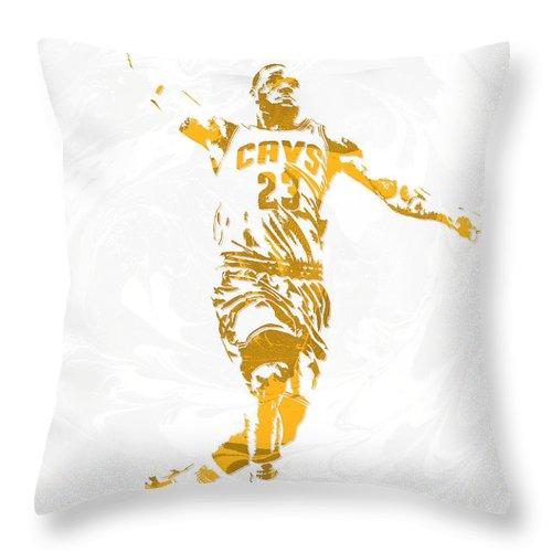 Lebron James Throw Pillow featuring the mixed media Lebron James Cleveland Cavaliers Pixel Art 12 by Joe Hamilton