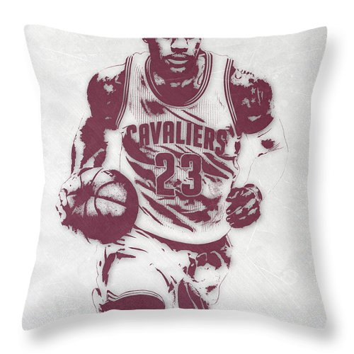 Lebron James Throw Pillow featuring the mixed media Lebron James Cleveland Cavaliers Pixel Art 4 by Joe Hamilton