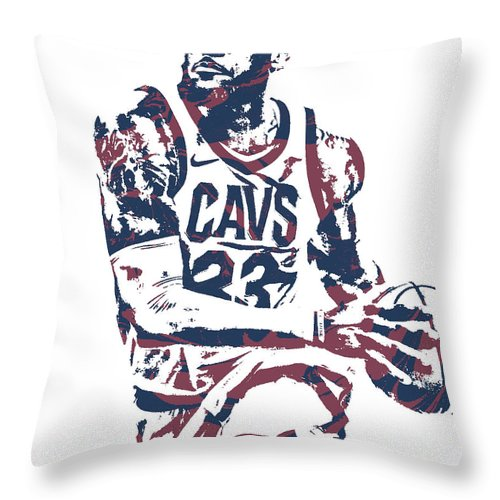 b6c707377548 Lebron James Throw Pillow featuring the mixed media Lebron James Cleveland  Cavaliers Pixel Art 50 by