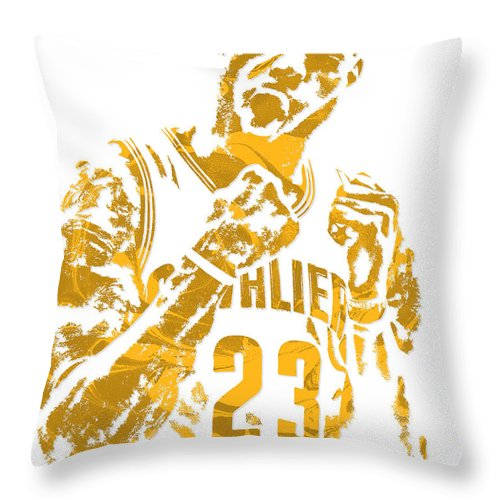 Lebron James Throw Pillow featuring the mixed media Lebron James Cleveland Cavaliers Pixel Art 9 by Joe Hamilton