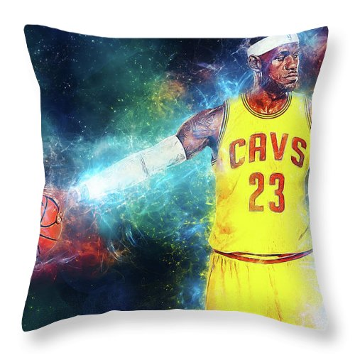 Lebron James Throw Pillow featuring the digital art Lebron James by Zapista Zapista