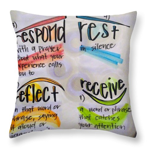 Lectio Divina Throw Pillow featuring the painting Lectio Divina by Vonda Drees