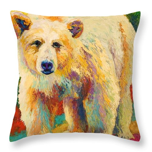 Kermode Throw Pillow featuring the painting Legend Of The Misty Fjords by Marion Rose