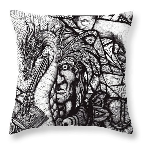 Pen And Ink Throw Pillow featuring the drawing Legend by Tobey Anderson