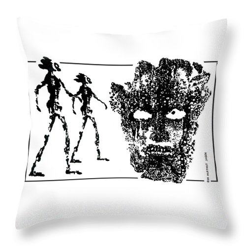 Legends Throw Pillow featuring the drawing Legends Of Olden Times by Hartmut Jager