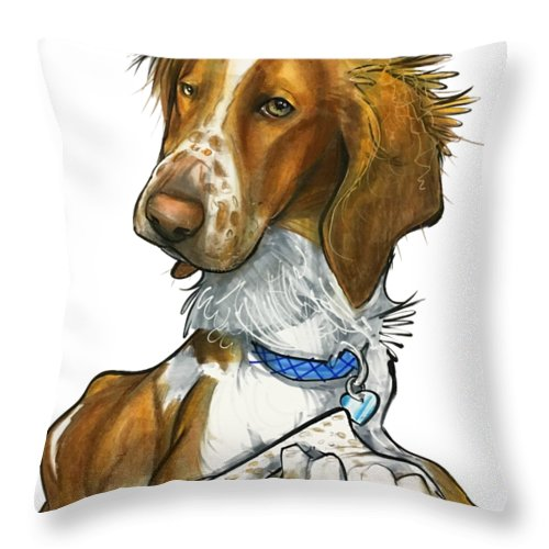 Pet Portrait Throw Pillow featuring the drawing Leger 3018 by John LaFree