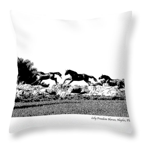 Horse Throw Pillow featuring the photograph Lely Horses by Laurie Paci