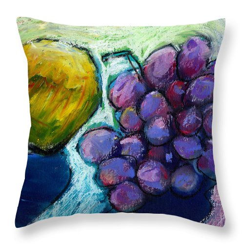 Lemon Throw Pillow featuring the painting Lemon And Grapes by Angelina Marino