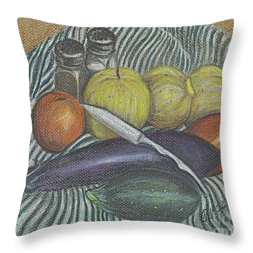 Harvest Throw Pillow featuring the drawing Lemon Cucumbers by Carol Wisniewski