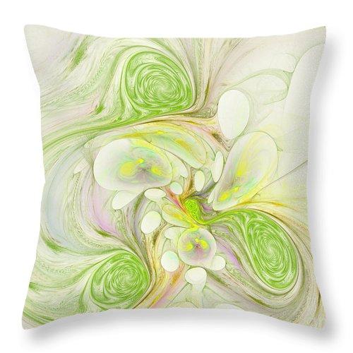 Digital Throw Pillow featuring the digital art Lemon Lime Curly by Deborah Benoit