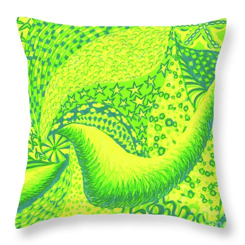 Abstract Throw Pillow featuring the drawing Lemon Lime by Kim Sy Ok