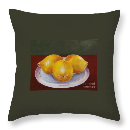 Lemon Throw Pillow featuring the painting Lemons by Jeanie Watson