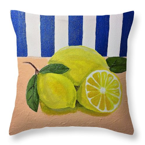 Still Life Throw Pillow featuring the tapestry - textile Lemons by Terri Huffman