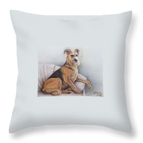 Dog Throw Pillow featuring the pastel Lena by Nicole Zeug