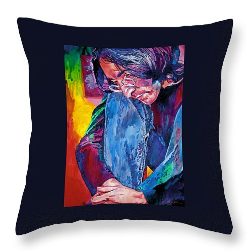 Rock Star Throw Pillow featuring the painting Lennon In Repose by David Lloyd Glover