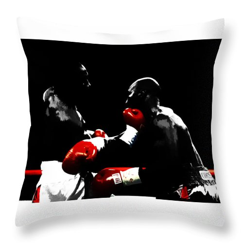 Lennox Lewis Throw Pillow featuring the mixed media Lennox Lewis And Evander Holyfield by Brian Reaves