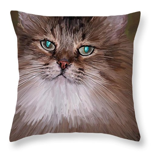Cat Throw Pillow featuring the painting Leo by David Wagner