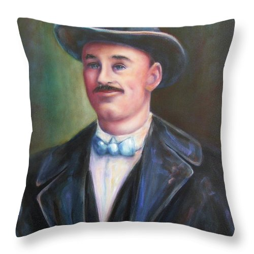 Portrait Throw Pillow featuring the painting Leonard Mckay by Shannon Grissom