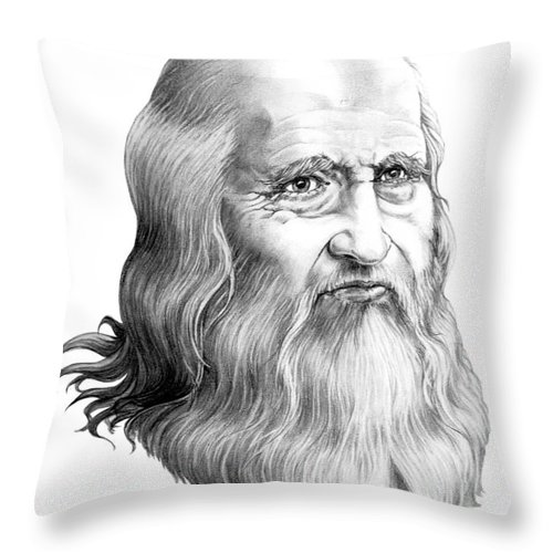 Famous Person Throw Pillow featuring the drawing Leonardo Da Vinci by Murphy Elliott