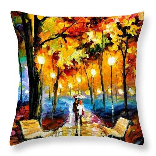 Park Throw Pillow featuring the digital art Leonid Afremov 148 Leonid Afremov by Eloisa Mannion
