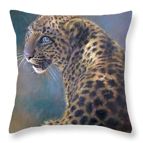 Cats Throw Pillow featuring the pastel Leopard by Iliyan Bozhanov