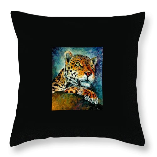 Animals Throw Pillow featuring the painting Leopard by Leonid Afremov