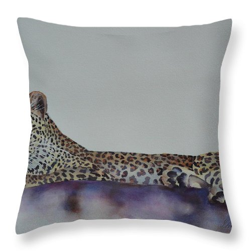 Cat Throw Pillow featuring the painting Leopard On Rock by Yvonne Ankerman
