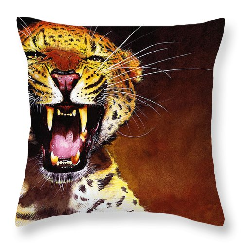 Leopard Throw Pillow featuring the painting Leopard by Paul Dene Marlor