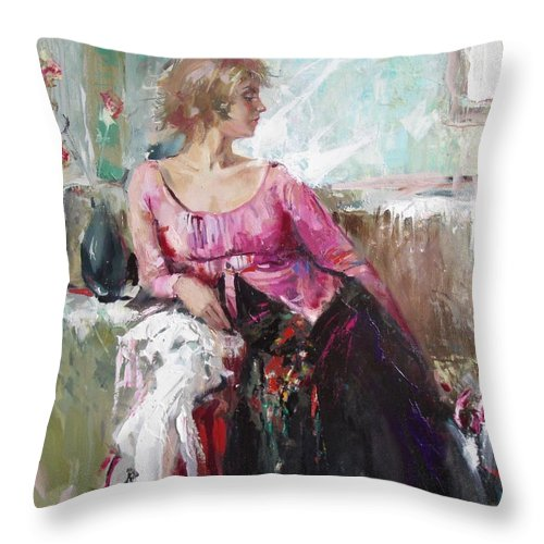 Ignatenko Throw Pillow featuring the painting Lera by Sergey Ignatenko