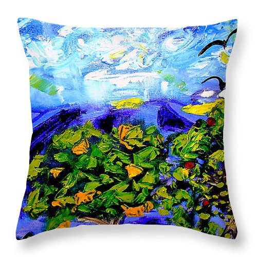 Crows Throw Pillow featuring the painting Les Corneilles by Rusty Gladdish