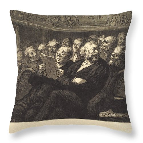 Throw Pillow featuring the drawing Les Fauteuils D'orchestre by Auguste Lep?re After Honor? Daumier