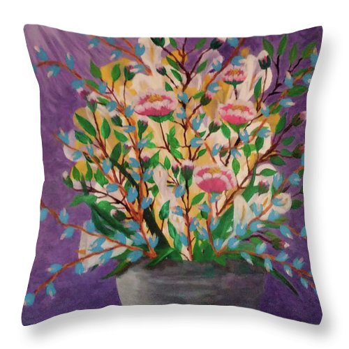 Still Life Throw Pillow featuring the painting Les Fleurs by Diana Robbins