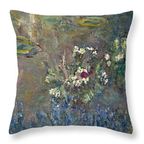 Claude Monet Throw Pillow featuring the painting Les Nympheas by Claude Monet