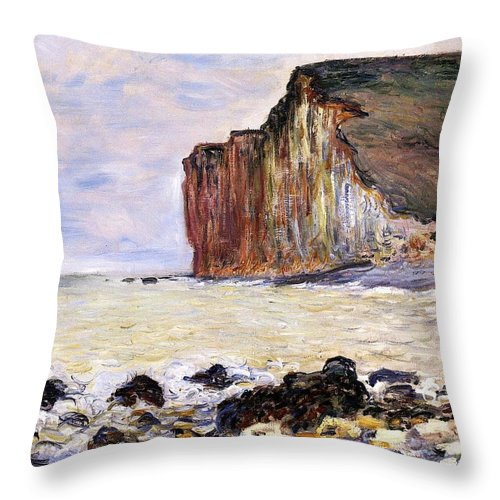 French Throw Pillow featuring the painting Les Petites Dalles by Claude Monet