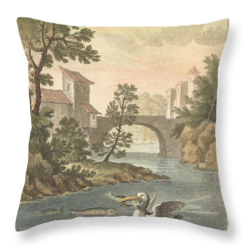Throw Pillow featuring the drawing Les Poissons Et Le Cormoran (the Fish And Thecormorant) by Quentin-pierre Chedel After Jean-baptiste Oudry