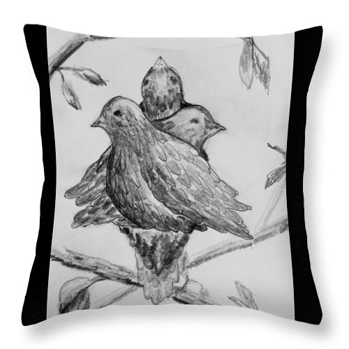 Birds Throw Pillow featuring the drawing Les Trois Oiseaux by Catherine Sprague