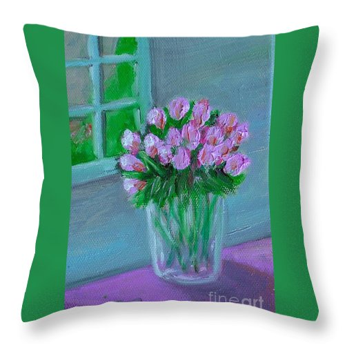 Rose Throw Pillow featuring the painting Leslie's Roses by Laurie Morgan