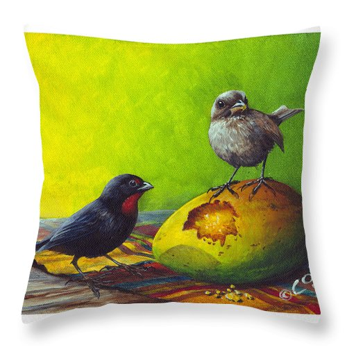 Chris Cox Throw Pillow featuring the painting Lesser Antillean Bullfinches And Mango by Christopher Cox