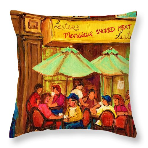 Lesters Monsieur Smoked Meat Cafe Throw Pillow featuring the painting Lesters Monsieur Smoked Meat by Carole Spandau