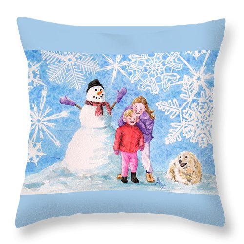 Snowman Throw Pillow featuring the painting Let It Snow by Gale Cochran-Smith