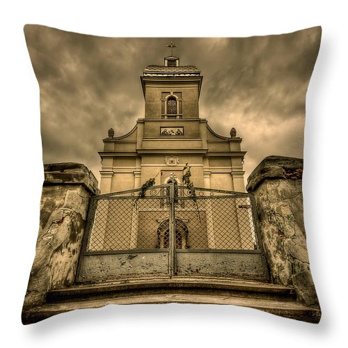 Church Throw Pillow featuring the photograph Let Love In by Evelina Kremsdorf