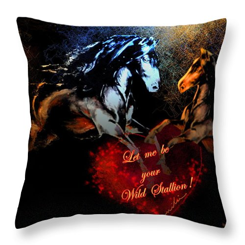 Love Throw Pillow featuring the painting Let Me Be Your Wild Stallion by Miki De Goodaboom