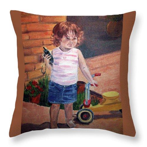 Girl Portrait Throw Pillow featuring the painting Let Me Call Papa by Irina Sztukowski