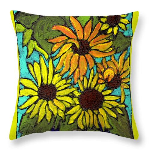 Yellow Throw Pillow featuring the painting Let The Sunshine In by Wayne Potrafka