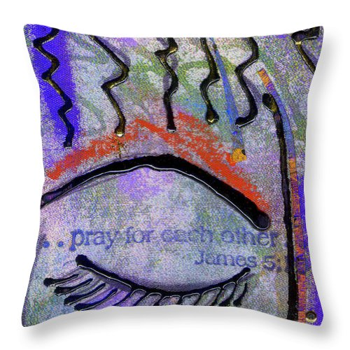 Women Throw Pillow featuring the mixed media Let Us Pray by Angela L Walker
