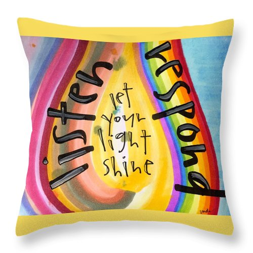 Listen Throw Pillow featuring the painting Let Your Light Shine by Vonda Drees