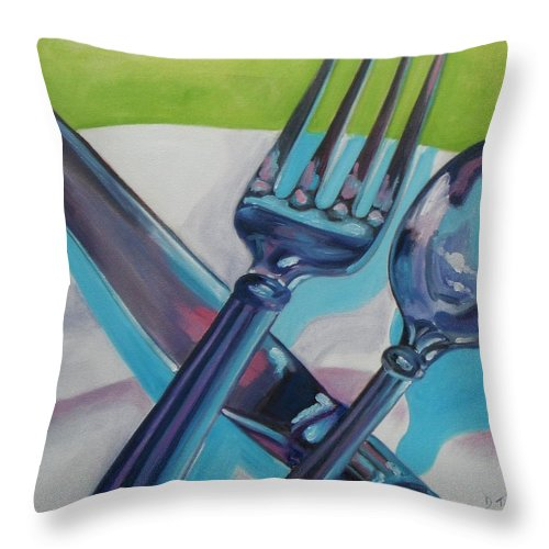 Fork Throw Pillow featuring the painting Let's Eat by Donna Tuten