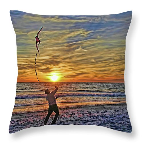 Fly A Kite Throw Pillow featuring the photograph Let's Go Fly A Kite by HH Photography of Florida
